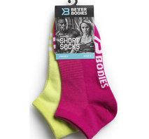 Better Bodies Short Socks 2-Pack - Pink/Lime